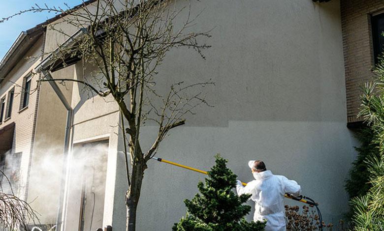 Haus-Fassade mit Wasser reinigen