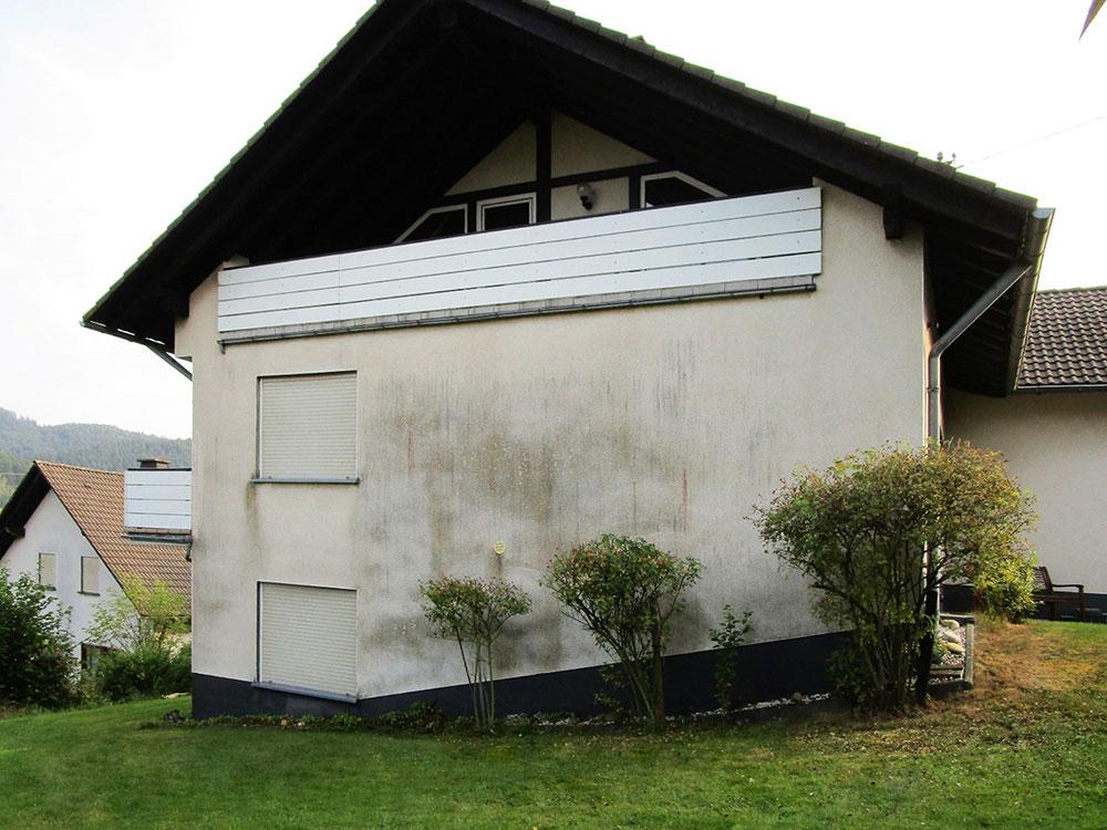 schmutzige Hausfassade reinigen