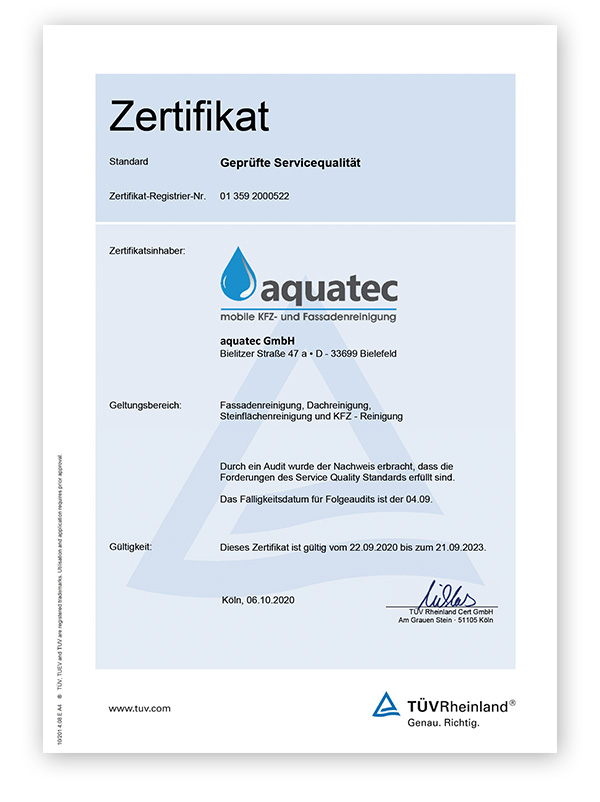Zertifizierte Fassadenreinigung aquatec
